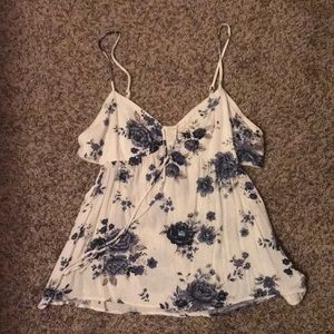 Floral tank blue and white